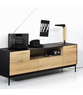 Blackbird 二門二抽屜黑色邊框電視櫃/邊櫃