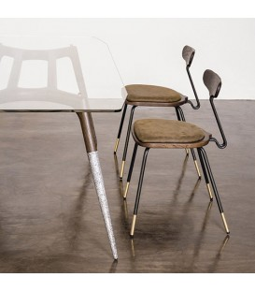 Dayton 栗黑橡木皮革餐椅 (橄欖綠)