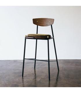 Kink 栗黑橡木皮革吧台椅 (橄欖綠)