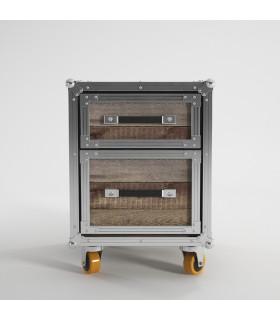 Roadie 鋁鎂合金包邊滑輪二抽床頭櫃