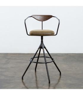 Akron 栗黑橡木皮革吧檯椅 (橄欖綠)