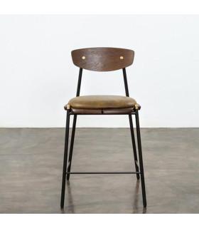 Kink 栗黑橡木皮革中島椅 (橄欖綠)