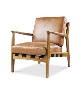 At Ease 橡木扶手皮革椅