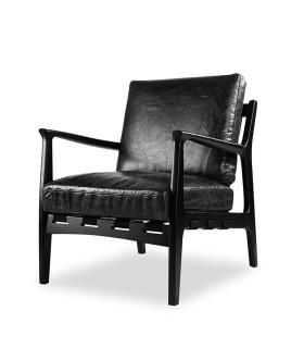 At Ease 黑色扶手皮革椅