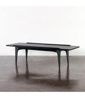 Salk 黑色橡木水泥一抽咖啡桌