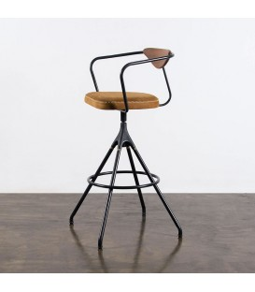 Akron 栗黑橡木皮革吧檯椅 (棕色)