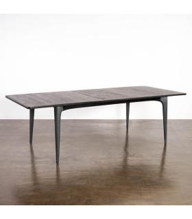 Salk 黑色橡木水泥中開延伸餐桌