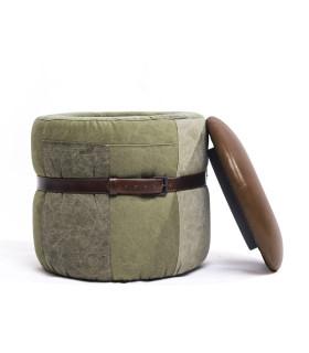 Army 軍營帆布皮革收納椅凳 - 黑棕