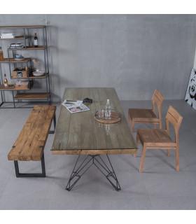 Celebes 原始風格鋼筋桌腳餐桌(無玻璃)