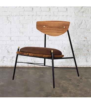 Kink 煙燻橡木皮革休閒椅 (棕色)