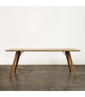 Theo煙燻橡木工業風餐桌/工作桌