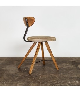 Theo煙燻橡木皮革座椅(灰色皮革款)