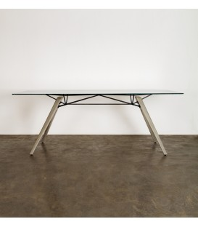 Kahn橋式鋼構水泥玻璃餐桌/工作桌