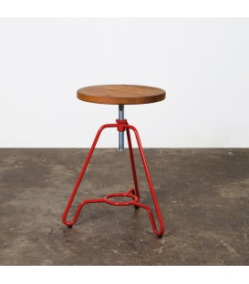 Briggs輪廓線橡木旋轉矮凳(紅色)