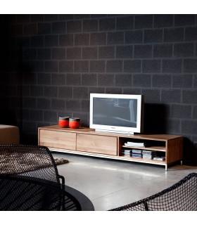 Essential 層板與二抽屜不鏽鋼底座電視櫃