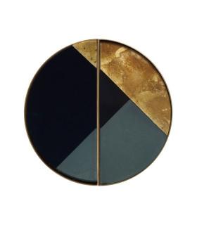 低奢拼色半月形金屬托盤