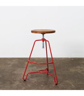 Briggs輪廓線橡木旋轉吧檯凳(紅色)