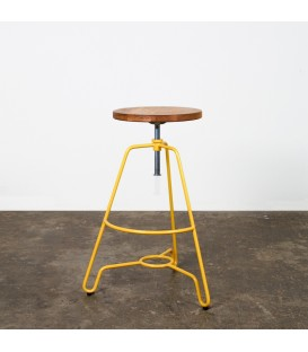 Briggs輪廓線橡木旋轉吧檯凳(鮮黃色)