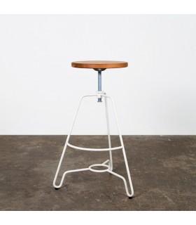 Briggs輪廓線橡木旋轉吧檯凳(乳白色)