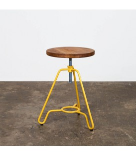 Briggs 輪廓線橡木旋轉矮凳(鮮黃色)