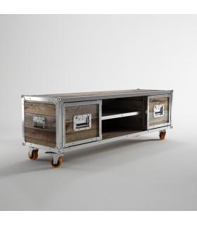 Roadie鋁鎂合金包邊二抽屜滑輪電視櫃
