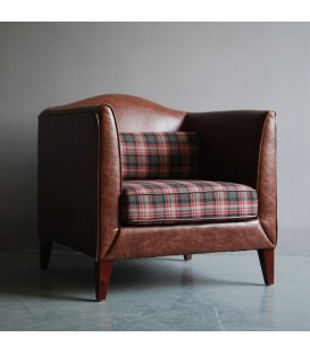 復古坐墊單人皮革休閒沙發