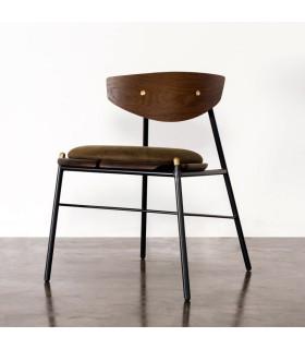 Kink 栗黑橡木皮革餐椅 (橄欖綠)