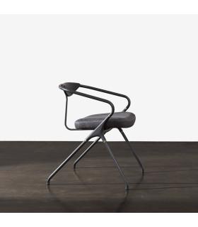 Akron 黑色橡木皮革餐椅 (迷霧灰)