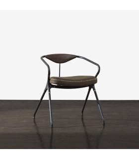 Akron 栗黑橡木皮革餐椅 (橄欖綠)