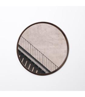 栗黑橡木圓鏡