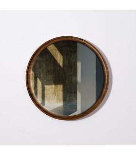 煙燻橡木圓鏡