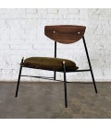 Kink 栗黑橡木皮革休閒椅 (橄欖綠)
