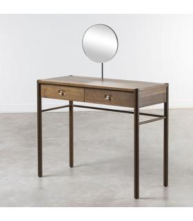 Balam 栗黑橡木對鏡梳妝桌